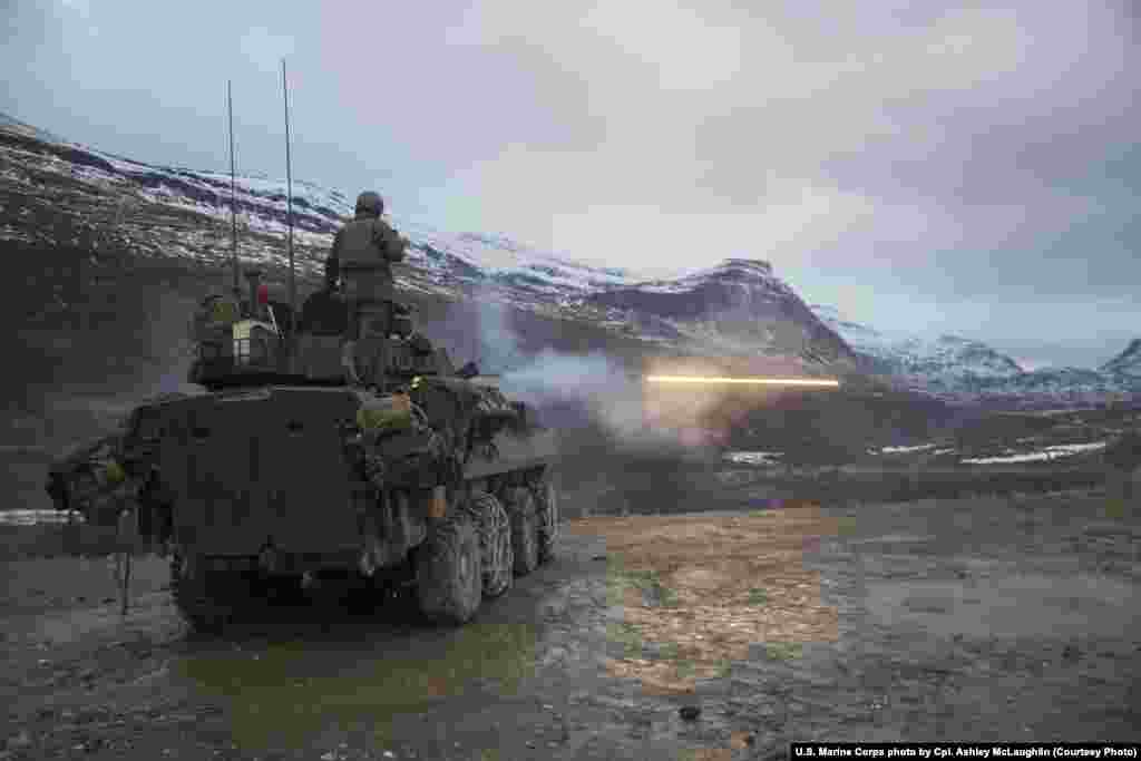 "U.S. Marines training in Norway. A Norwegian military commander told Reuters: ""As a small nation neighboring a superpower, you have to strike the right balance between deterrence and reassurance."""