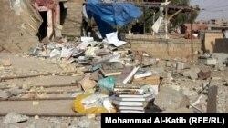 آثار تفجير جامع تابع لطائفة الشبك في برطلة شرق الموصل