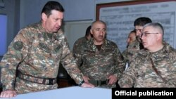 Nagorno-Karabakh -- Major-General Jalal Harutiunian (L) at a staff exercise in Stepanakert, February 20, 2020.