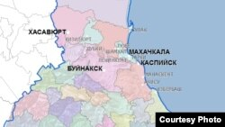 Город Буйнакск на карте Дагестана.