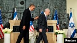Ysraýylyň prezidenti Şimon Peres (sagda), ABŞ-nyň prezidenti Barak Obama (çepde), Ierusalim, 20-nji mart, 2013.