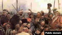 """Илья Репин. """"Түрік сұлтанына хат жазып жатқан запорожьеліктер"""". Сурет Википедиядан алынған."""