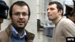 Jailed bloggers Emin Milli (left) and Adnan Hajizada