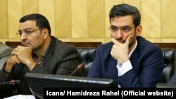 Iranian ICT minister Mohammadjavad Azari Jahromi (R) in a meeting with members of Iran's parliament on Monday may 28, 2018.