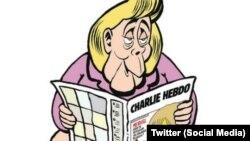 Njemačka kancelarka Angela Merkel na naslovnici prvog broja njemačkog izdanja satiričnog lista Charlie Hebdo