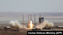 A Simorgh (Phoenix) satellite rocket is launched at an undisclosed location in Iran in July 2017.