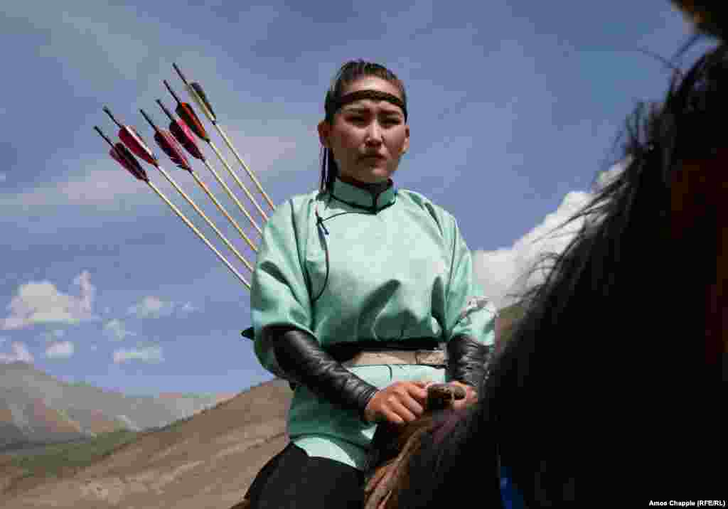 Ban Batar, of Mongolia, awaits her turn in the mounted archery.