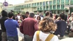 Акция в защиту Афгана Мухтарлы у здания грузинского СГБ