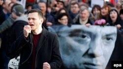 ბორის ნემცოვის ხსოვნისადმი მიძღვნილი აქცია მოსკოვში. 2016 წლის 27 თებერვალი.