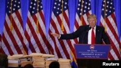 Избранный президент США Дональд Трамп на пресс-конференции в Нью-Йорке. 11 января 2017 года.