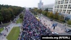 """Марш """"Народная інаўгурацыя Ціханоўскай"""", Менск, 27 верасьня 2020"""