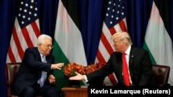 Președintele palestinian Mahmoud Abbas și preșdintele Statelor Unite, Donald Trump, New York, 20 septembrie 2017.