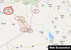 В центре - граница Сирии и Ирака. Штриховкой показана территория, где, по данным иракских военных, скрывается аль-Багдади