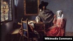 """Ян Вэрмэр, """"Дама п'е з джэнтльмэнам"""" (1658)."""