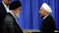 Аятола Алі Хаменеї та президент Ірану Хасан Роугані