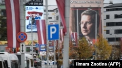 Election posters in Riga are draped in Riga as Latvians went to the polls on October 6.
