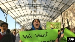 A student protest at Tehran University in December