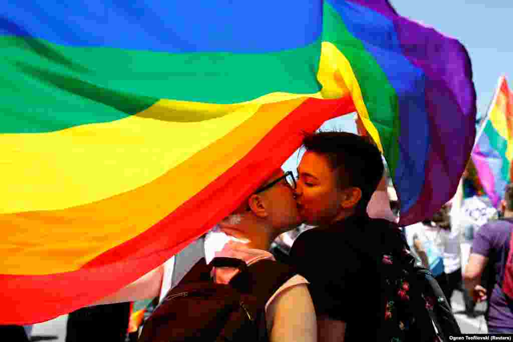 Participants kiss as they take part Macedonia's first gay-pride parade in Skopje on June 29. (Reuters/Ognen Teofilovski)