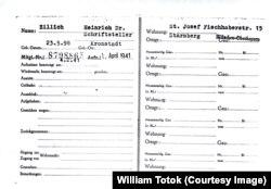 Heinrich Zillich, carnetul de partid, 1941 (BARch, 3200 [NSDAP-Ortskartei]– Heinrich Zillich, Mitgliedsnummer 8798865)