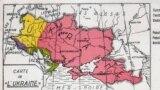 Поштова листівка із зображенням карти України «Carte de L'Ukraine». Червоним кольором позначено територію, яка потрапила до складу СРСР. Цю листівку було видано у Бельгії у 1930-х роках