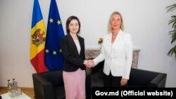 Şefa politicii externe a UE Federica Mogherini şi prim-ministra de la Chişinău Maia Sandu. Bruxelles, 30 septembrie 2019