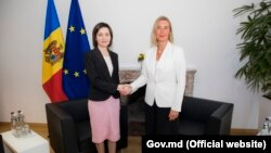 Federica Mogherini la primirea Maiei Sandu, la Bruxelles, la 30 septembrie2019