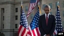 Барак Обама на траурной церемонии в память о жертвах терактов 11 сентября 2001 года.