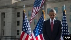 Барак Обама на траурной церемонии в память о жертвах терактов 11 сентября 2001 года