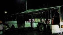 Шамалған станциясындағы жол апаты кезінде қираған автобус. Алматы облысы, 15 қыркүйек 2019 жыл.
