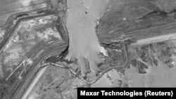 Сардоба су қоймасының жарылған сәті. Спутниктен түсірілген сурет. 6 мамыр 2020 жыл. Көрнекі сурет