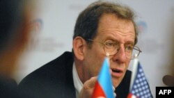 AzerbaijanU.S. envoy Richard Morningstar speaks at a press conference in Baku on June 2.