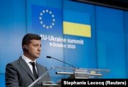 Президент Владимир Зеленский на саммите Украина-ЕС в Брюсселе, 6 октября 2020 года