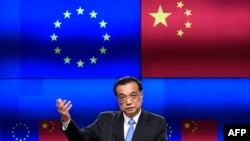 Chinese Prime Minister Li Keqiang speaking after an EU-China summit in Brussels in April 2019