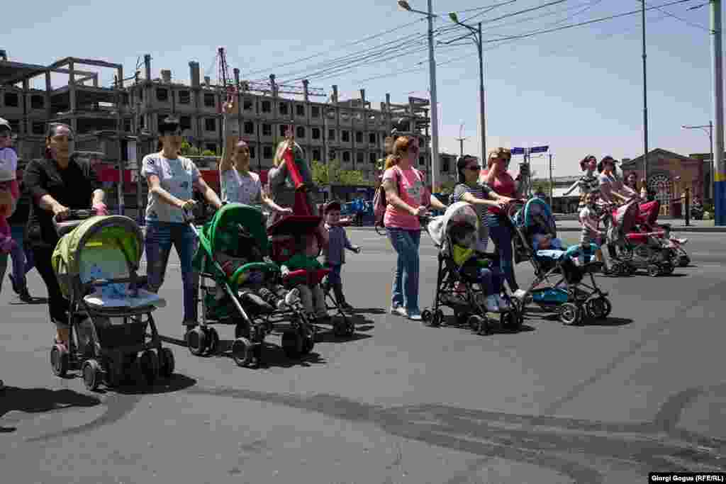 With their strollers and young children, a group of mothers joined protesters on the streets of Yerevan.