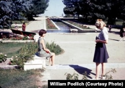 Jan Podlich (left) and Peg Podlich at Paghman Gardens in Kabul. Then a lush oasis, today the gardens no longer exist.