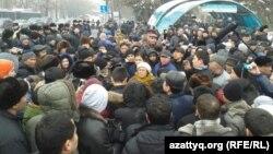 Наразылар митингісі. Алматы, 15 ақпан 2014 жыл.