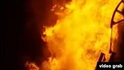 Пожар на месторождении Каламкас в Мангистауской области.