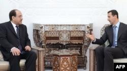 الرئيس السوري بشار الأسد يلتقي برئيس لبوزراء العراقي نوري المالكي في دمشق، 18 آب 2009
