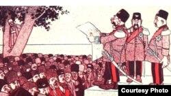 کاریکاتوری از مجله آذری ملانصرالدین، ۲۶ اوت ۱۹۰۶.