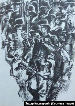 А. Кашкурэвіч. Ілюстрацыя да рамана Івана Пташнікава «Найдорф» (1976)