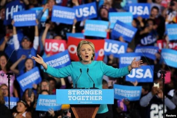 Хиллари Клинтон на предвыборном митинге в Кливленде