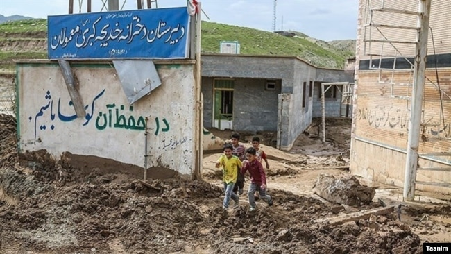 An Iranian rural school in the aftermath of floods in March 2019.