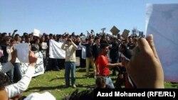 جانب من تظاهرة الإيزيديين في السليمانية