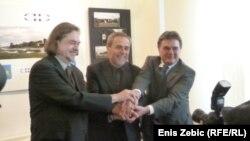 Fedor Džamonja, Milan Bandić i Ivan Jakovčić nakon potpisivanja Pisma namjere, 5. veljače 2013.
