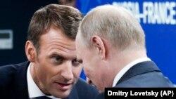 Эммануэль Макрон и Владимир Путин, 25 мая 2018, Санкт-Петербург