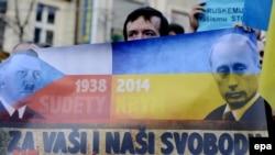 Антипутинская демонстрация в Праге