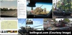 Российский танк с бортовым номером 127/005, сфотографированный сначала в Ростовской области России, а затем в Новоазовске (Донецкая область Украины)