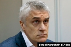 U.S. investor and founder of the Baring Vostok private equity group, Michael Calvey, attends a court hearing in Moscow on April 12.