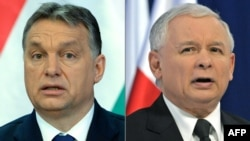 """Премьер-министр Венгрии Виктор Орбан (слева) и лидер правящей в Польше партии """"Право и справедливость"""" Ярослав Качиньский"""