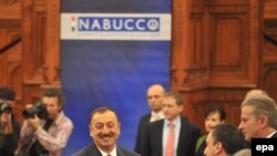 Azerbaijan's President Ilham Aliyev (center) at the opening of the Nabucco summit in Budapest